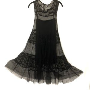 Zara Black Lace Dress Sz Large Tulle Dotted Sheer